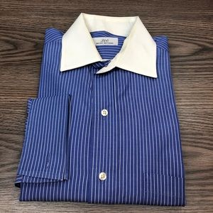 Brooks Brothers Blue Stripe French Cuff Shirt 15